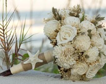 Sola Bouquet, Beach inspired Wedding Bouquet Coastal Wedding Beach Bouquet  Natural starfish Jute Dried Sea grass Nautical Bouquet