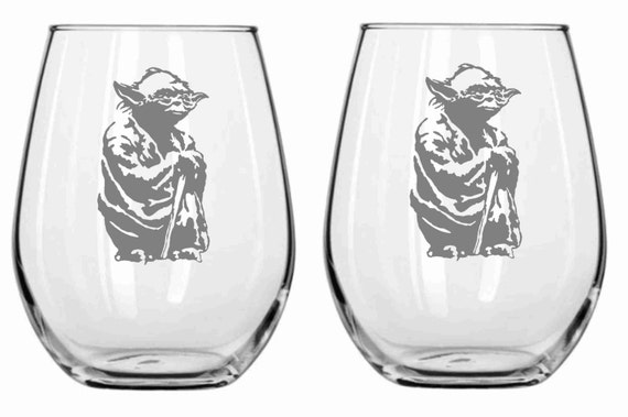 Star Wars Yoda Glass Set of 2 Chose from Wine Glass, Pilsner, Beer Mug, Rocks, Pub Glass, Stemless WIne Sandcarved Personalized for FREE