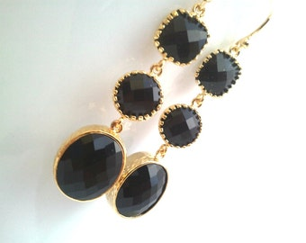 Black Onyx CZ Wedding earrings, Drop, bridesmaid gifts, Gemstone,Wedding jewelry,Dangle, Mother's Day Gift Earrings