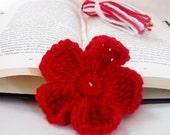 Crochet red flower bookmark with red and white tassel handmade