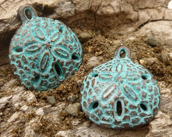 Small, Rustic, Vintage Look, Patina Sand Dollar Charms, Pendants - Mykonos Casting Beads (2) - M11 - X5784