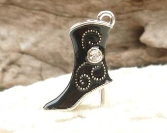 Silver and Black Enamel Cowboy Boots (2)