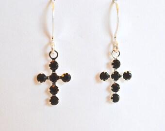 Black Swarovski Crystal Cross Earrings in Gold or Silver, Gift for Her, Faith Christian, Catholic, Inspirational, Religious,