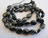 10 Shiny Black Spinel Faceted Oval Beads, Approx 9x6mm