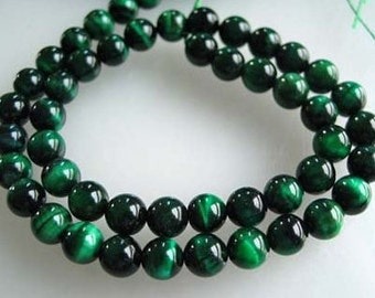 10mm Green Tigers Eye Smooth Round Beads, 10 Beads
