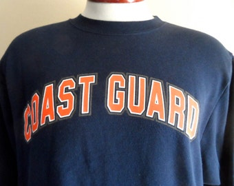 vintage 90's United States US Coast Guard navy blue fleece graphic sweatshirt crew neck neck pullover jumper red white grey back and print