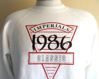 vintage 80's Imperials Classic 1986 ivory white fleece graphic sweatshirt red white geometric triangle logo raglan sleeve crew neck pullover