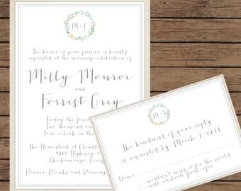 Vintage Floral Frame Modern Calligraphy Wedding Invitation