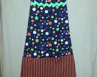 Sale 50% off Halloween Apron Multi Color Dots on Black with Black and Orange Stripe Pockets