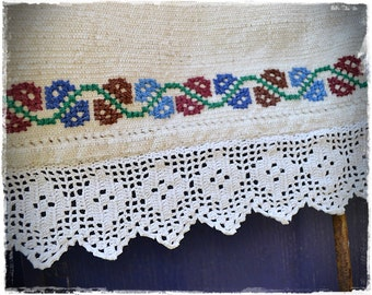 Curtain antique Transylvanian linen, plain sewing, linen embroidery wedding