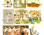 Kate Greenaway Child Illustrations - Digital Collage Sheet PDF File Instant Download