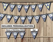 Nautical Birthday Banner, Anchor Happy Birthday banner, Sailor banner, Sailboat pennant - 1st Birthday Party PRINTABLE banner PERSONALIZED