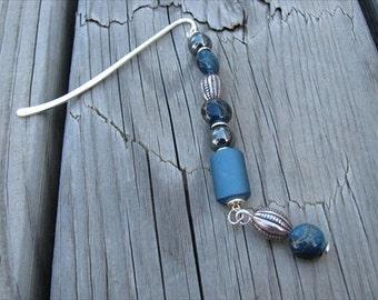 JEWELRY SALE- Beaded Bookmark Blue, Hematite, Silver