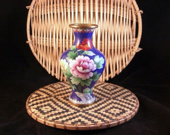 Vintage Cloisonne Vase // Peonies // from Successionary