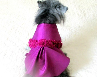 Berry Party Dress Small Dog or Cat, Formal Wear Pet Clothes Made to Order Taffeta with Shabby Chic Rose Trim