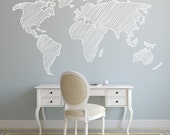 7 FEET Map Wall Decal. Wall Sticker. Removable
