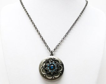 Antique Silver Round Blue Bell Locket Pendant Necklace