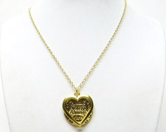"Gold Plated ""Always Sisters/Always Friends"" Round & Heart Pendant Necklace"