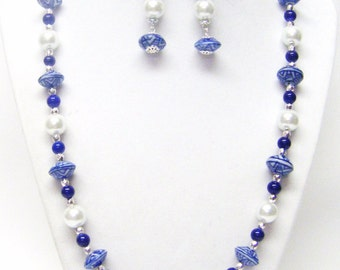 Blue and White Ceramic Discs Bead Necklace & Earrings Set