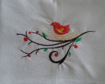 Scandinavian Bird Embroidered 100% Cotton Kitchen Flour Sack Towel