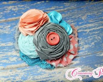 Coral, Turquoise, Grey, Infant Headband, Fabric Flower Hairbow, Teal, Peach Hair Bow, Toddler, Baby Headband, Aqua Flower Hair Accessory