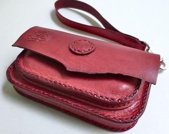 Small red leather clutch / wristlet / belt case, belt bag, belt purse, hip bag, hip purse