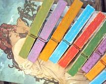 Distressed Clothes Pins - Set of 10 Bohemian Photo Holders - Decorative Clothespins - Boho Photo Clothesline - Colorful Hippie Dorm Decor