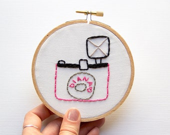 Pink Diana Camera Embroidery, Vintage Camera Hoop Art, Mid-Century Modern Stitched Art, Cute Quirky Home Decor, For Her, Photographer Gift
