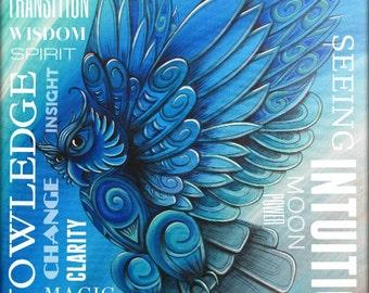 Owl Totem Wordart Print