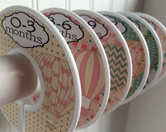 6 Baby Closet Dividers Hot Air Balloons Dividers Clothes Organizers Cothes Dividers Pink Teal Baby Shower Gift Girl w111