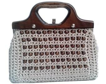 1960 french handbag wood  frame  and pearls woven