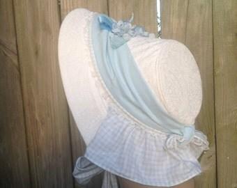 1860s Pale Blue Gingham Spoon Bill Bonnet
