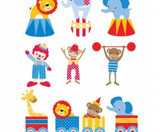 Set of 10 Iron On Big Top Circus Transfers Baby Shower, Baby, Toddler Iron Ons
