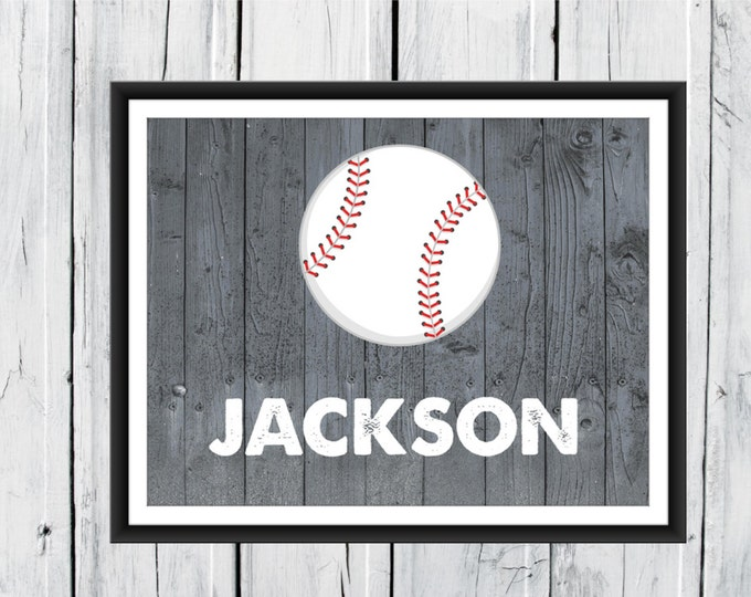 Baseball Print  - Baseball Nursery  - Personalized Baseball Name Print