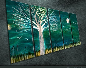 """Large Original Metal Wall Art Modern Abstract Painting Sculpture Indoor Outdoor Decor """"Wilderness"""" By Ning"""