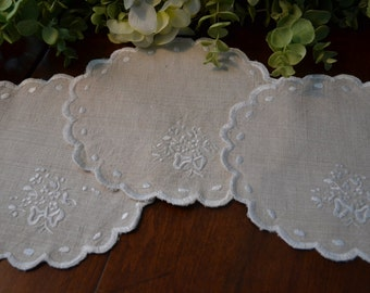 Vintage Oval Doilies in Toffee Colored Linen, Off-White Embroidered Trim, Set of Three   3359