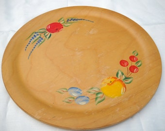 Vintage Wooden Tray, Woodcraftery, Handpainted Fruit, Charming