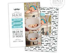 Birth Announcement Template for Photographers - Newborn Boy Announcement Template - Photography Photoshop Templates - BA171