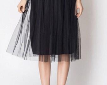 Black Tulle Midi Skirt Special Offer