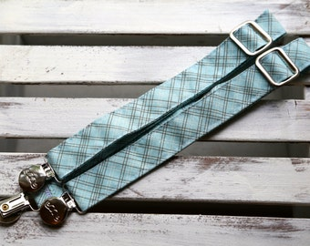 Turquoise Plaid Suspenders (Turquoise, Brown and White)