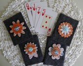 Bridge Tallies, Retirement Gift, Birthday Gift, Gift for Card Player, Bridge, Grey Felt Covers and Chipboard Flowers (set of 4)