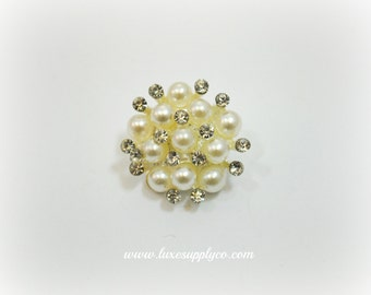 Gorgeous Petite Pearl & Rhinestone 18mm metal buttons - YOUR CHOICE: Set of 5, 10, or 50 - Wholesale Discounts - MR494 18mm