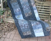 Lap Quilt, Sofa Quilt, Quilted Throw, Batik Quilt, - Charcoal Gray Sophistication