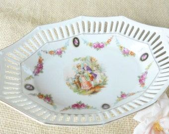 Antique Reticulated German Porcelain Dish, Bowl, Cottage Style, French Country