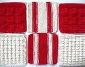 Soft Natural Dish Cloths  Hand Knit  Red Stripe  Christmas Color
