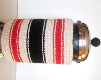 French Press Coffee Cozy, Rich Red and Black Stripe