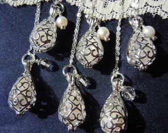 Beach Wedding Necklace Bridesmaid Sea Glass Lockets Wedding Jewelry  Beach Wedding Summer Wedding