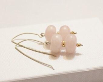 Rose Quartz Earrings, Rose Quartz Jewelry