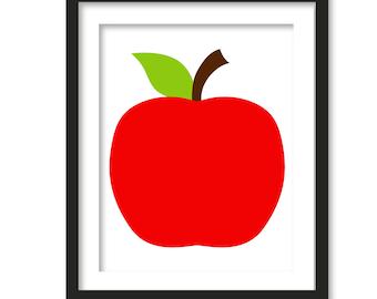 Red Apple Print, Children's Wall Art, Nursery Art, Nursery Decor, modern kitchen art, apple print, childrens print, apple pattern, apple art