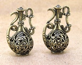 3pcs Large 3D Charm Flagon pendant wine pot Flower Pendant  tone jug Pendant  Antique Bronze Fitting Connectors 35mmx 22mm  AA